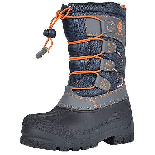 DREAM PAIRS Big Kid Knorth Navy Grey Orange Isulated Fur Winter Waterproof Snow Boots Size 4 M US Big Kid