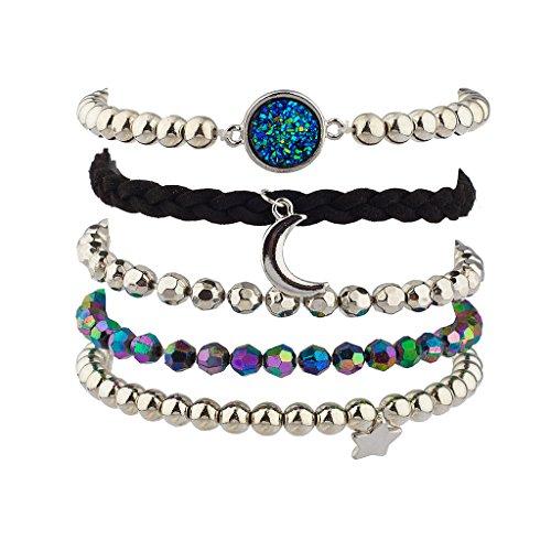 Lux Accessories Prism Crescent Moon Celestial Star Beaded Arm Candy Bracelet Set