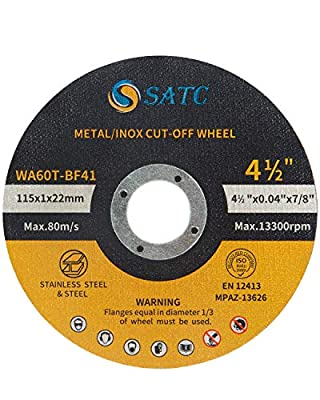 SATC 5 PCS Cut Off Wheels 4-1/2x7/8-inch Metal&Stainless Steel Cutting Wheel Fits Angle Grinder Saw Grinder Metal Cut Tools