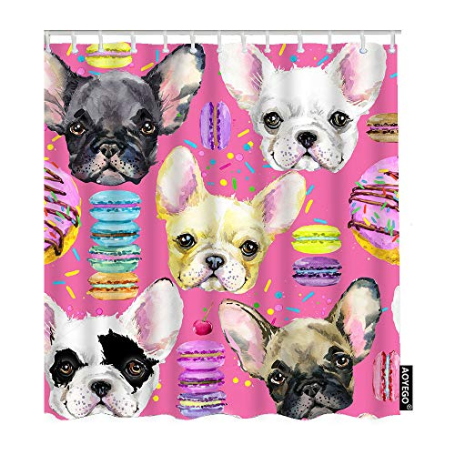 AOYEGO Cute French Bulldog Shower Curtain with Hooks Watercolor Dog Face Sweet Puppy Dessert Donut Cake Rainbow Fabric Shower Curtain Decorative 60x72 Inch Polyester for Bathrooms Bathtubs Farmhouse