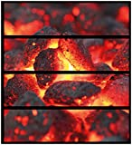 Wallario Möbelfolie/Aufkleber, geeignet für IKEA Malm Kommode - Glühende Kohlen im Kamin mit 4 Schubfächern