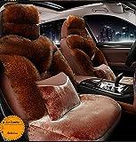 Hiver chaud authentique Australie peau de mouton housse de siège de voiture luxe longue laine housse de siège avant s'adapte à la plupart des voitures, camions, VUS ou fourgonnettes,Marron