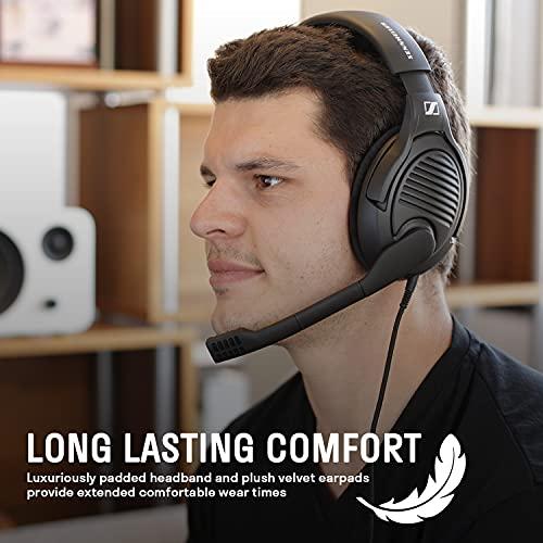 Massdrop x Sennheiser PC37X Gaming-Headset - Geräuschunterdrückendes Mikrofon mit offenem Rücken-Design, 3 m langes abnehmbares Kabel, und Velours-Ohrpolster, Schwarz