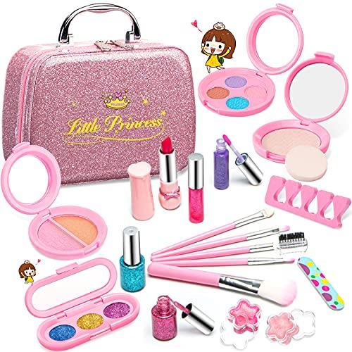 Clickwoo Maquillage Enfant Jouet Filles, Lavable Malette Maquillage Jouet pour Enfant, Coffret Maquillage Petites Filles Makeup Set, Beauté Cadeau de Anniversaire pour Princesse 3 4 5 6 7 8 Ans