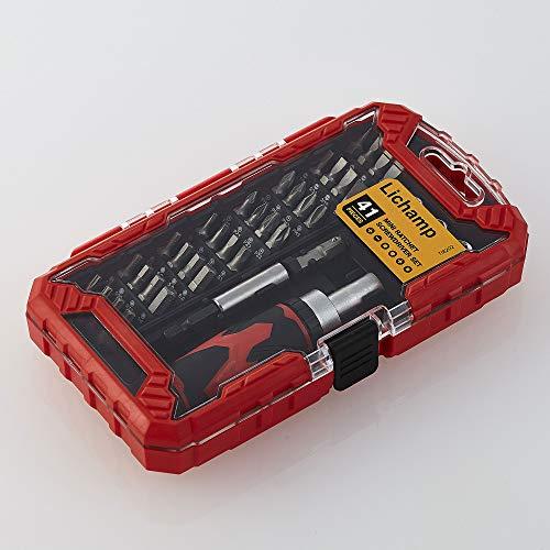 Lichamp Ratchet Screwdriver, 41 Piece Mini Ratcheting Screwdriver Socket Bit Set, Combination Tool Set Household Hand Tool Home Repair Kit Magnetic Driver Plastic Toolbox Storage Case (8202)