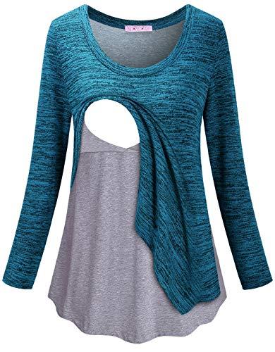 JOYMOM Nursing Shirts,for Breastfeeding Long Sleeve Maternity Tops Pregnancy Latched Mama Postpartum Clothes Fall Lactation Tunics Easy Wear Ocean Blue L