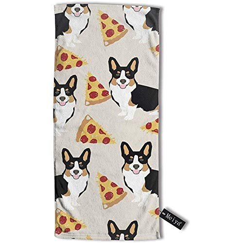 JHDF Corgi Tricolored Pizza Hunderasse Cute Pet Stoff Tan Handtuch Reisetuch Badetuch 80 * 130 cm Handtücher für Bad Hand Gesicht Gym und Spa