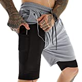 LaiYuTing Pantalones Cortos para Correr Hombres Fitness Gym Training Pantalones...