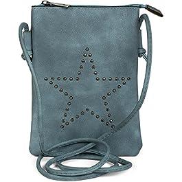 styleBREAKER Mini Sacoche avec découpes en Forme d'étoile, Sac en bandoulière, Sac à Main, Femmes 02012235, Couleur:Gris…