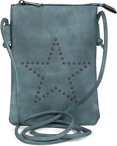 styleBREAKER Mini Bag Umhängetasche mit Nieten in Stern Form, Schultertasche, Handtasche, Tasche, Damen 02012235, Farbe:Jeansblau