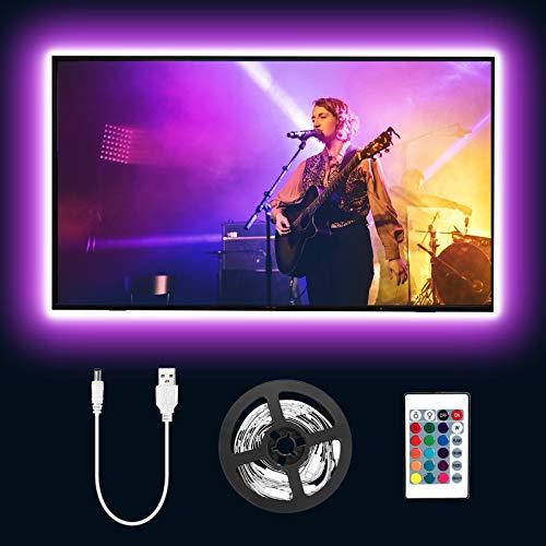 Lepro Striscia LED RGB 2m 5050 SMD, USB Alimentata e Telecomando Wireless RF, Striscia Luminosa Retroilluminazione TV con 16 Colori Dimmerabili per Monitor PC TV da 32-65 pollici (4 Strisce da 50 cm)