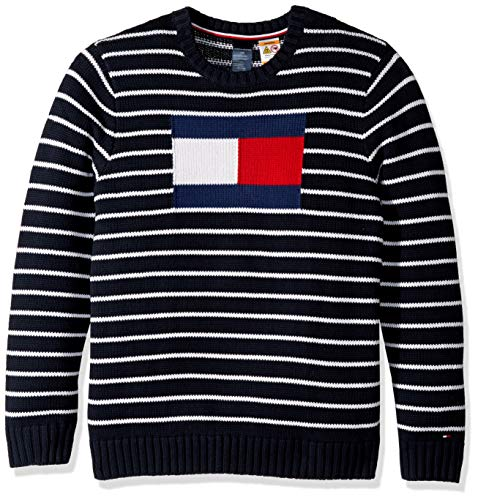 Tommy Hilfiger Men's Adaptive Sweater with Magnetic Buttons at Shoulders, sky captain/multi, S