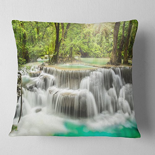 Designart Kanchanaburi Erawan Waterfall Photography Throw Cushion Pillow Cover For Living Room Sofa 18 X 18 On Amazon Ibt Shop