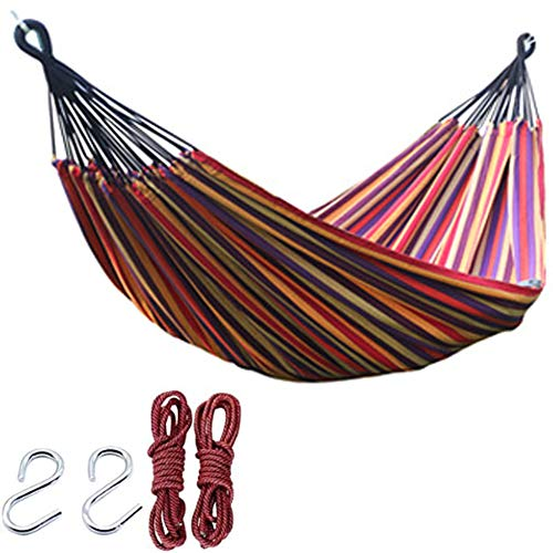 Tweepersoons Hangmat Katoenen Canvas Camping Hangmat Voor Buiten Maximale Belasting 150 Kg,1