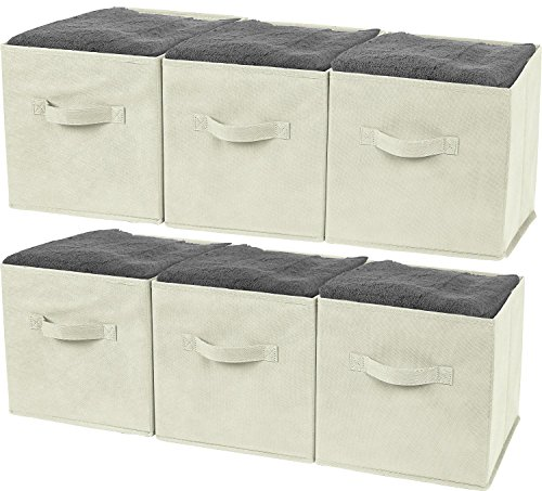 Greenco GRC2370 Foldable Non, Woven Fabric Storage Cubes, 6 Pack,Beige