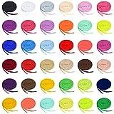 Auihiay 36 Pares de Cordones Planos de Colores Para Zapatillas de Deporte, Patines, Zapatos, Botas, 36 Colores