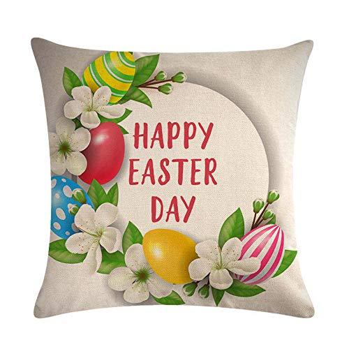1 funda de almohada de Pascua, cuadrada, estampada, fundas de cojín para sofá, decoración del hogar, 45 cm x 46 cm.
