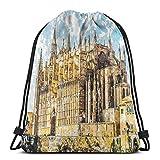 Bolsa de viaje con cordón para gimnasio, ideal para mujeres, hombres, niños, grandes edificio gótico, Catedral de Palma de Mallorca