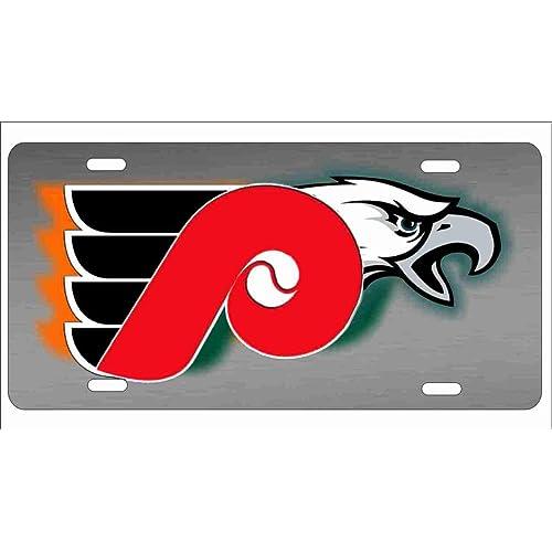Philadelphia Sport Teams Combined Logo Novelty License Plate Decorative Vanity Grey Aluminum car tag