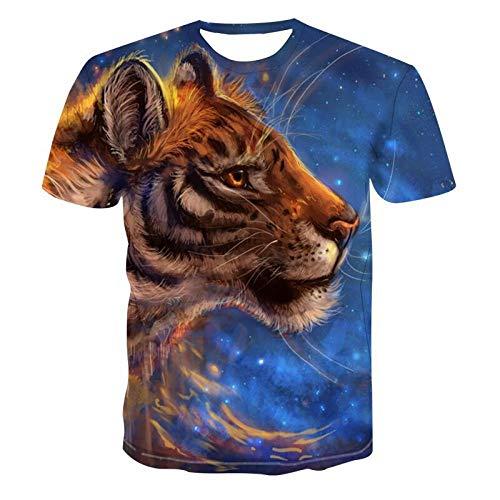 Heren 3D Printed Tops Tees Trend T-shirt met korte mouwen Grappige Jongens Mannen T-shirt met korte mouwen Top Tee Blouse Dier Tijger Blauw Sterrenhemel Hawaiian Beach T-Shirts