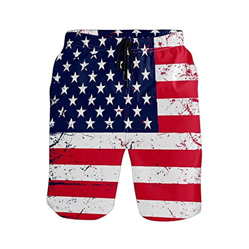 Pantalones de playa para hombre, diseño de bandera americana, para playa, pantalones cortos, Un solo color, Large
