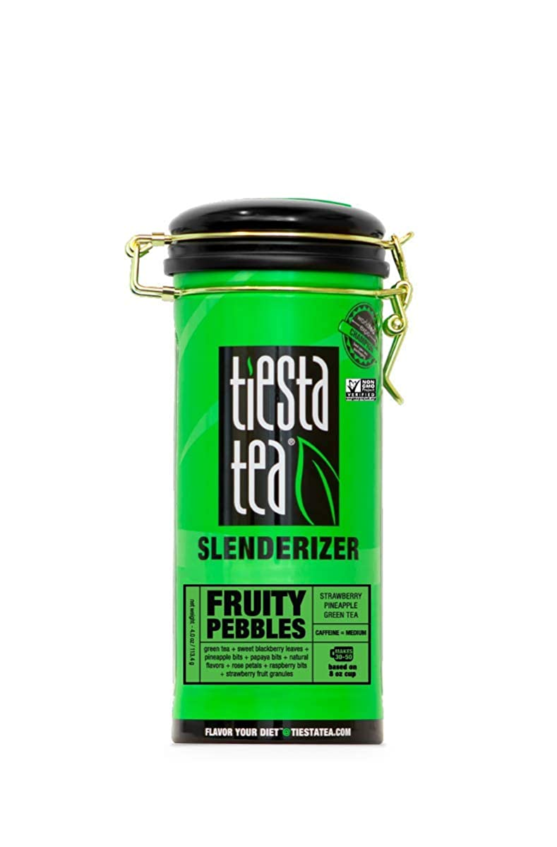Tiesta Tea Fruity Pebbles, Strawberry Pineapple Green Tea, 50 Servings, 4 Ounce Tin, Medium Caffeine, Loose Leaf Green Tea Slenderizer Blend