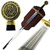 King Arthur Sword in The Stone: Excalibur Sword with Display Plaque. for Collection, Wall Decoration, Cosplay, Gift