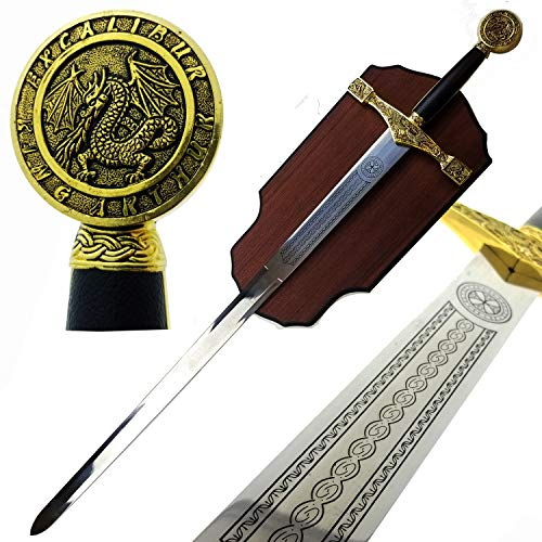 King Arthur Sword in The Stone: Excalibur Sword with Display Plaque....
