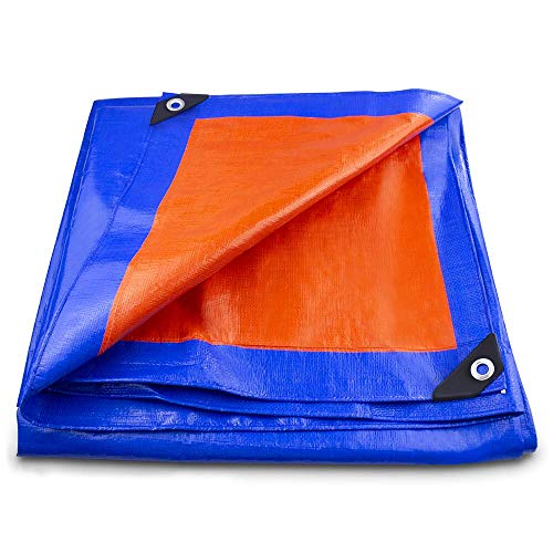 BeGrit Heavy Duty Tarpaulin Waterdicht Multi-Purpose Poly Tarp Tarpaulin Cover Premium Kwaliteit Blauw Tarp Sheet Regendichte Zonnescherm Shelter voor Tuin Camping Vissen Huisdieren Vrachtwagen 6.6ft*9.8ft