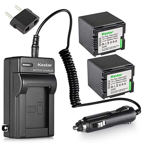 Kastar Battery X2 + Charger for Panasonic CGA-DU21 NV-GS40 GS44 GS47 GS50 GS55 GS57 GS58 PV-GS150 GS180 GS200 GS300 GS320 GS400 GS500 SDR-H250 H280 VDR-D258 D300 D308 D310 D400 VDR-M74 M75 M95 M250
