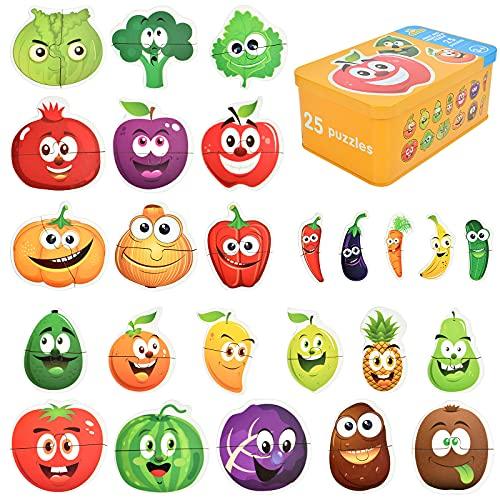 EKKONG Puzzles de Madera,Fruta Rompecabezas,Juguetes Bebes, Puzzles de Madera Educativos para Bebé, Juguetes niños 1 año 2 3 4 5 6 años (25 Pack)