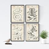 Nacnic Vintage - Pack de 4 Láminas con Patentes de Moda. Set de Posters con inventos y Patentes Antiguas. Elije el Color Que Más te guste. Impreso en Papel de 250 Gramos de Alta Calidad