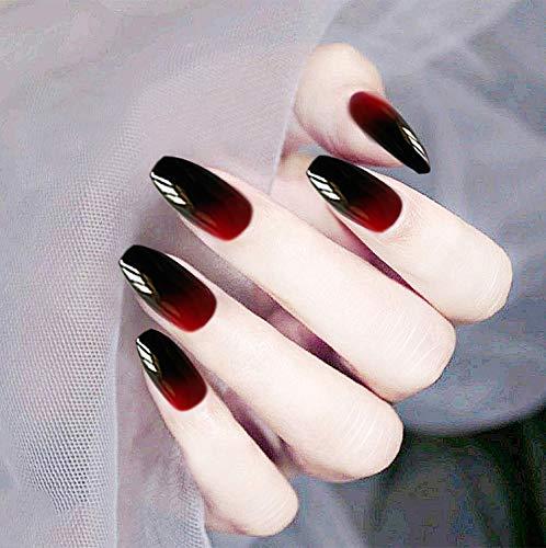 Brishow Künstliche Fingernägel Sarg Falsche Nägel Lange gefälschte Farbverlauf Ballerina Vollständige Abdeckung Acryl Falscher Nagel 24 Stück für Frauen und Mädchen (Schwarz & Rot)