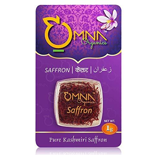 Omna Organics Saffron 100% Pure Natural kashmiri Mogra Kesar, Original finest Kashmir Pampore Saffron, Hight quality Saffron threads for Beauty and cooking, Organic Saffron sowing method used - 1 gram