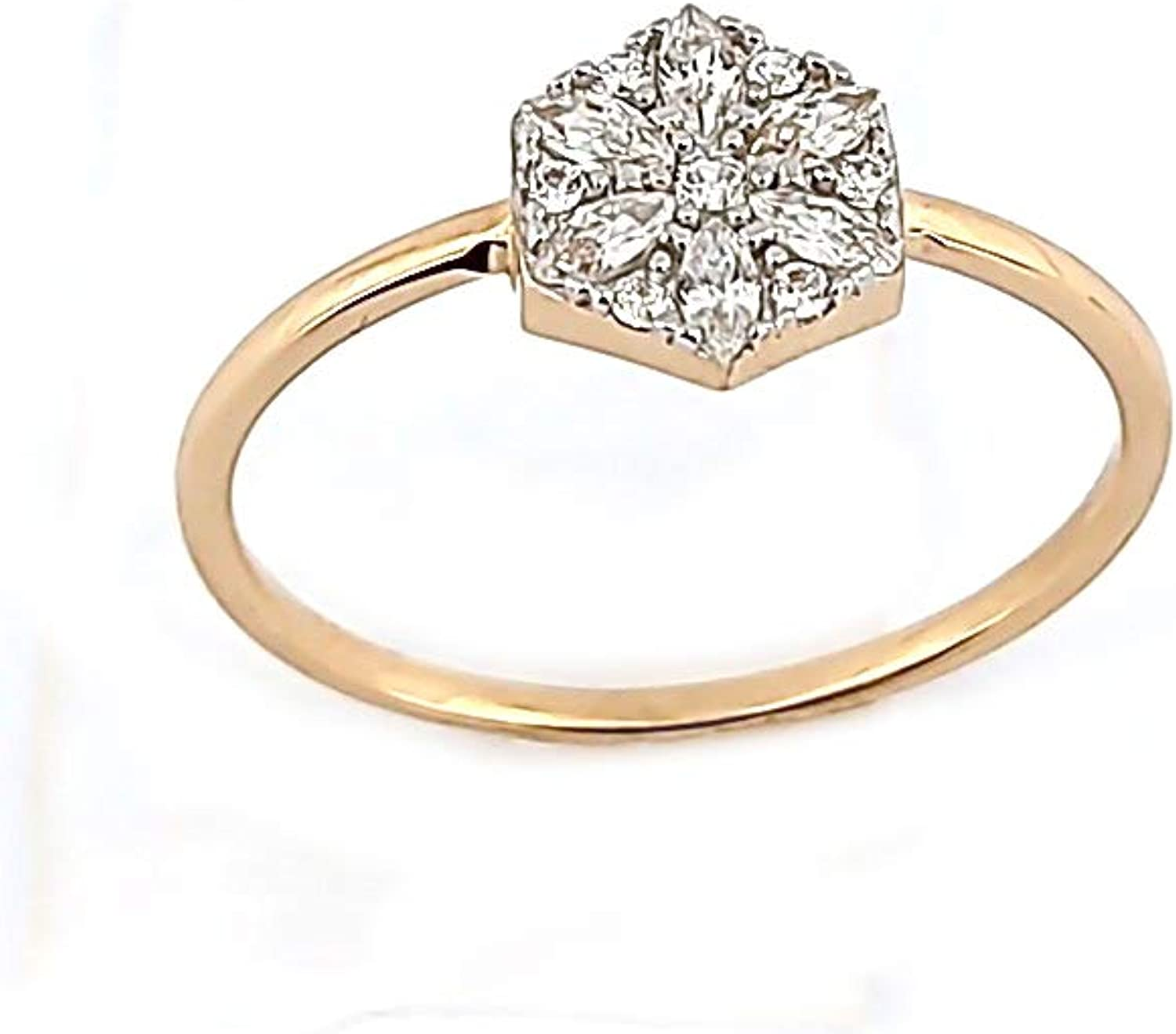 Anelise 14K Real Solid Yellow Fine New sales - For Women Rings Gold Selling and selling Zircon