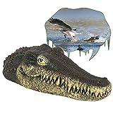 Floating Alligator Crocodile Head Water Decoy, Garden Pond Art Decor for Goose,Predator,Heron,Duck Control,Pool,Garden and Patio Accessories 13 inch Float Alligator for Koi Pond Decoration, Trick Toy
