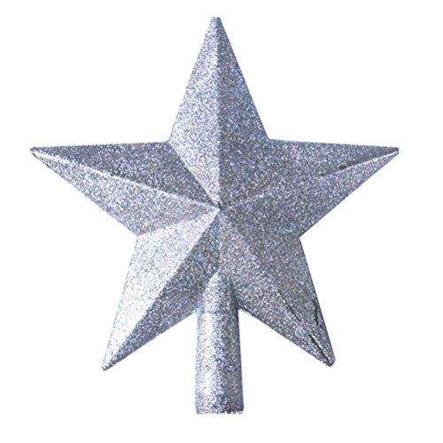 Oulii - Estrella plateada decorativa para punta de árbol de Navidad