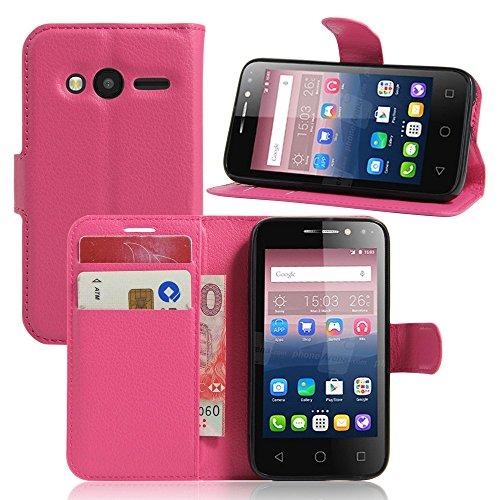 Ycloud Tasche für Alcatel Pixi 4 (4.0 Zoll) Hülle, PU Ledertasche Flip Cover Wallet Hülle Handyhülle mit Stand Function Credit Card Slots Bookstyle Purse Design Rose Red