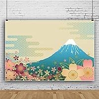 Qinunipoto 写真撮影用 背景布 商品 撮影 布 写真撮影 背景 日本 富士山 桜の花 復古色の背景 和風 撮影用道具 生放送 写真撮影用背景布 飾り 背景紙 背景墙 布背景 装飾 小道具 ビニール 1.5m x 1m