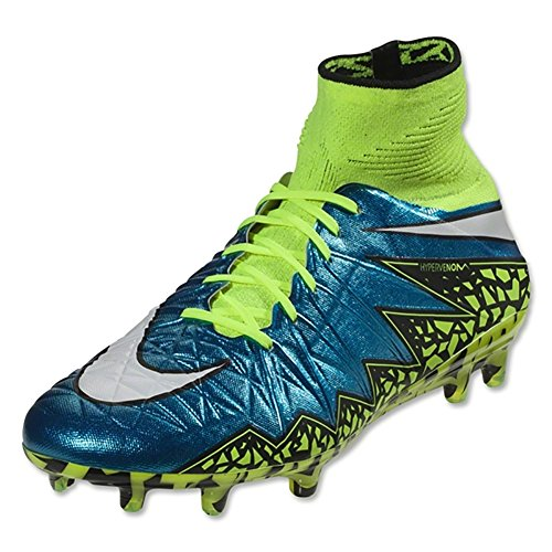 Nike Womens Hypervenom Phantom II FG Firm Ground Soccer Cleats (Blue Lagoon/White-Volt-Black Blulag/Blanc-Volt, 10)