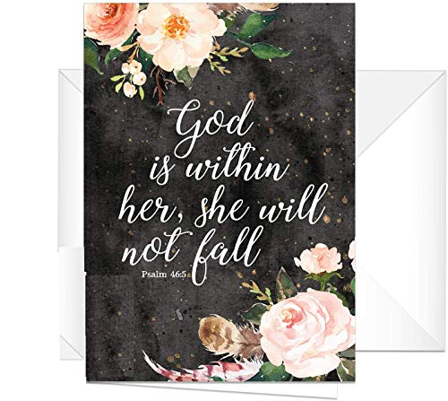 God is within her, she will not fall Note Cards / 24 Religious Notes and Envelopes / 24 Blank Cards