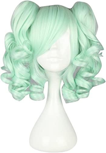 Lolita Light Grün 35CM Short Fashion Cosplay Harajuku Wig + 2 Curly Ponytails