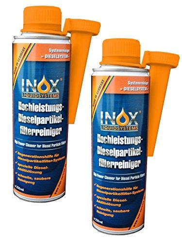 INOX® Dieselpartikelfilter-Reiniger Additiv, 2 x 250ml - Hochleistungs-Kraftstoffzusatz für alle Dieselmotoren, Reinigung während des Fahrbetriebs