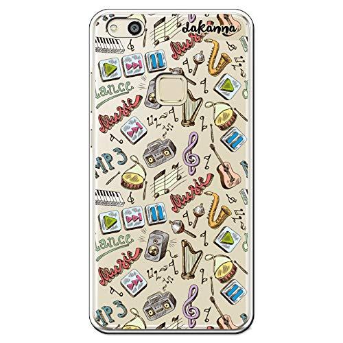 dakanna Funda Compatible con [Huawei P10 Lite] de Silicona Flexible, Dibujo Diseño [Pattern Instrumentos de Musica con Frase], Color [Fondo Transparente] Carcasa Case Cover de Gel TPU para Smartphone