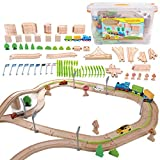 On Track USA Wooden Train Set with Bonus Attachable Car Road Wooden 110 Piece Toy Train Set of Wooden Train Tracks and Car Road with Plastic Connectors and 3 Trains (Cars Not Included)