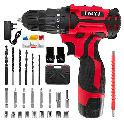 LMYJ Cordless Drill Driver, 18V Combi Drill, 31PCS Electric Screw Driver Set, 35Nm Variable Speed Multifunctional Rechargeable Power Drill Screwdriver Tool Starter Kit with Dual Battery 1500mAh Li-ion