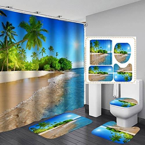 AIDEMEI Coastal Sun Shine Beach Scenery Wasserdicht Badezimmer Duschvorhang Toilettenbezug Teppich Matte Badezimmer Dekor Teppich Gardinen Mit Haken 180X180 cm