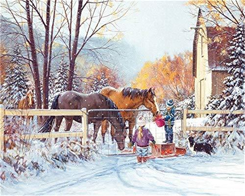 XDXART DIY olieverf op nummer kit voor kinderen volwassenen Beginner 16x20 inch - kinderen voeden het paard, tekenen met borstels kerstdecoratie decoraties geschenken Zonder frame