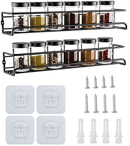 YunNasi Especiero Pared Especiero de Cocina Organizador Especias Set 2/4 Estantes de Acero Inoxidable para Cocina, despensa ,amario de cocina 29x6x6cm (Negro, 2 racks)