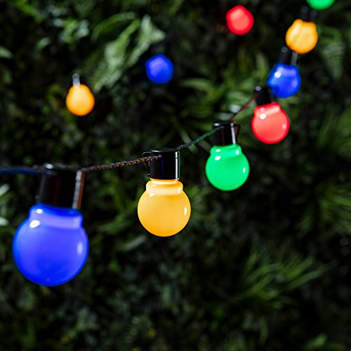 Lights4fun - Catena Luminosa con 30 Luci LED Multicolore a Forma di Lampadina